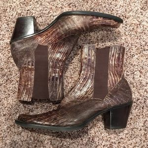 Funky and Beautiful Franco Sarto Lizard Ankle Boot